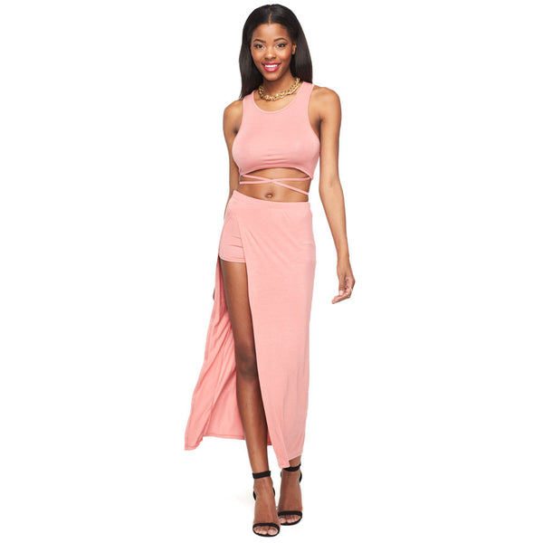 Fit To Be Tied Mauve 2-Piece Maxi Skirt Set - Citi Trends Ladies - Front