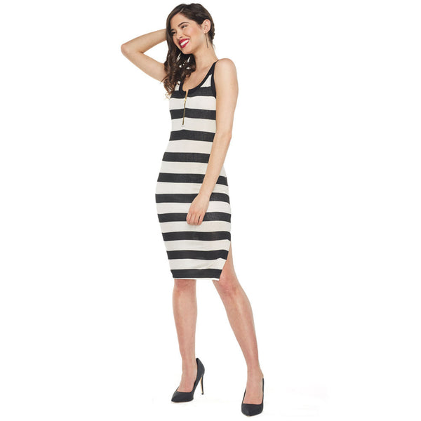 Feeling Fabulous Striped Ribbed Bodycon Dress - Citi Trends Ladies - Front
