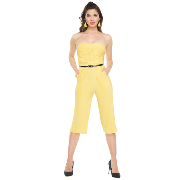 Cut To The Chase Mustard Belted Tube Culotte Jumpsuit - Citi Trends Ladies - Front