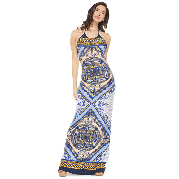 Back-To-It Navy Kaleidoscope Halter Maxi Dress - Citi Trends Ladies - Front
