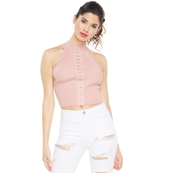 Hooked On You Pink Mock Neck Crop Top - Citi Trends Ladies - Front