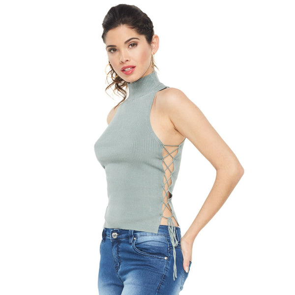Lace The Facts Olive Mock-Neck Crop Top - Citi Trends Ladies - Front