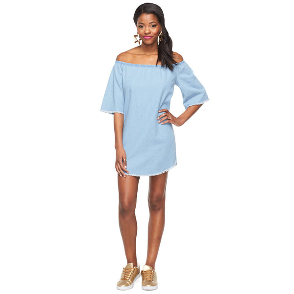 Fray Your Own Way Denim Off-The-Shoulder Dress - Citi Trends Ladies - Front