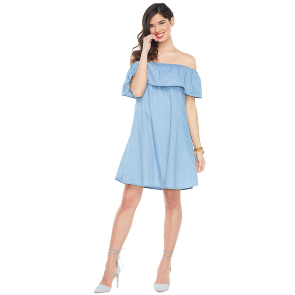 Flounce Around Chambray Off-The-Shoulder Dress - Citi Trends Ladies - Front