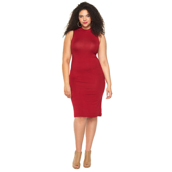 Curve Appeal Red Midi-Length Bodycon - Citi Trends Plus - Front