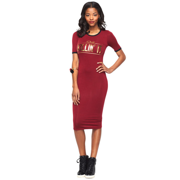 Still Killin It Burgundy/Metallic Gold Midi Dress - Citi Trends Ladies - Front