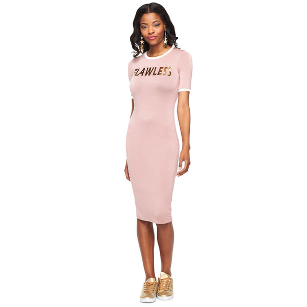 Flawless Mauve/Metallic Gold Midi Dress - Citi Trends Ladies - Front