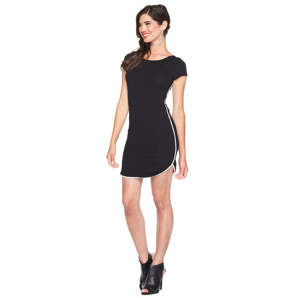 Get In Line Black T Shirt Dress With Contrasting Trim - Citi Trends Ladies - Front