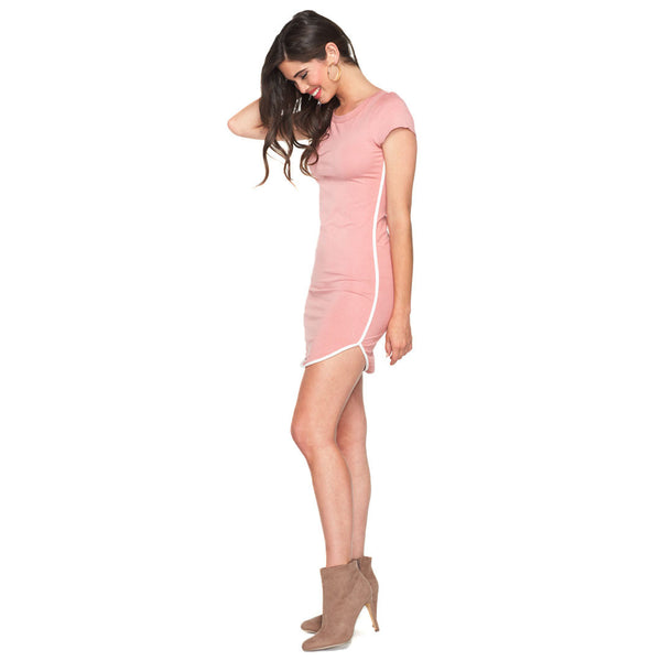 Get In Line Rose T Shirt Dress With Contrasting Trim - Citi Trends Ladies - Front