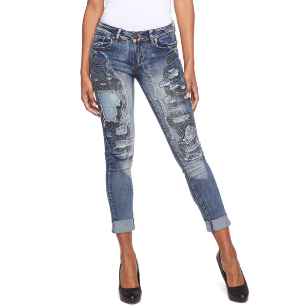 Cuff Luck Rip And Repair Skinny Jean - Citi Trends Ladies - Front