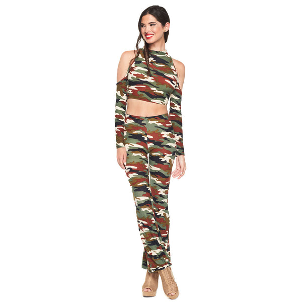 In Hot Pursuit 2-Piece Camo Flare Pant Set - Citi Trends Ladies - Front