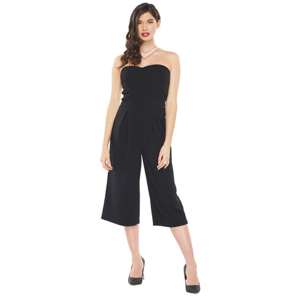 Go With The Flow Black Strapless Gaucho Jumpsuit - Citi Trends Ladies - Front