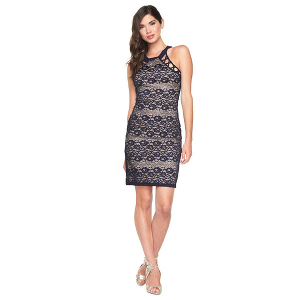 Lace To It Navy/Beige Mock Neck Dress - Citi Trends Ladies - Front