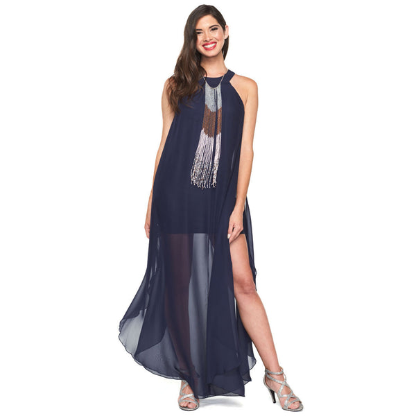 Chiffon Bliss Navy Maxi Dress With Beaded Necklace - Citi Trends Ladies - Front