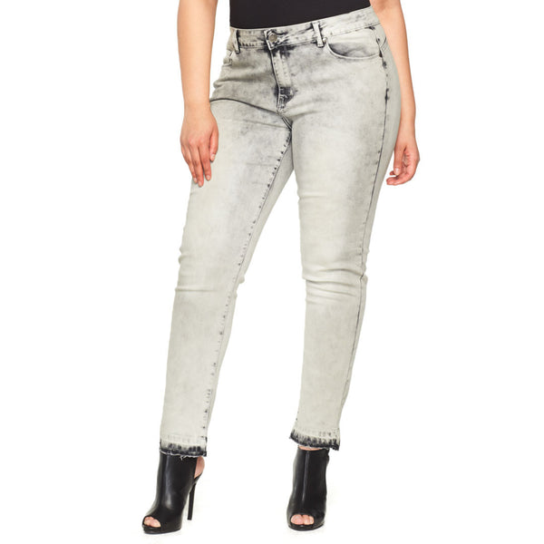 Gray For Today Cloud Wash Jean With Released Hem - Citi Trends Plus - Front