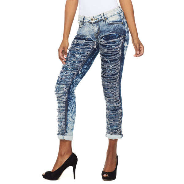 Let It Rip Ice Cloud Wash Slashed Skinny Jean - Citi Trends Ladies - Front