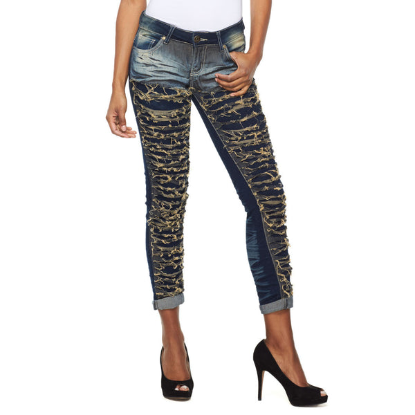 Let It Rip Vintage Wash Slashed Skinny Jean - Citi Trends Ladies - Front