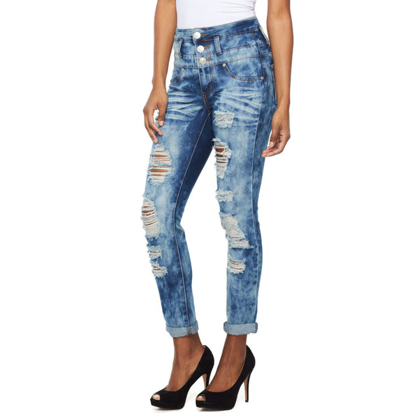 Stacked To The Max Cloud Wash Distressed Skinny Jean - Citi Trends Ladies - Front