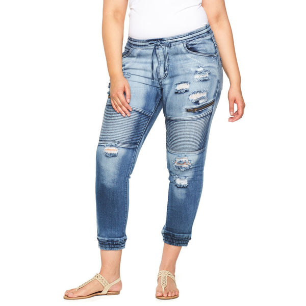 Moto On The Mind Distressed Denim Jogger - Citi Trends Plus - Front