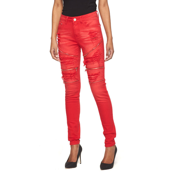 Make Your Moto Move Red Distressed Skinny Jean - Citi Trends Ladies - Front