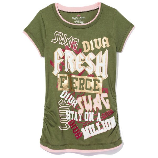 Feelin' Fresh Girls Olive Graphic Tee - Citi Trends Girls - Front