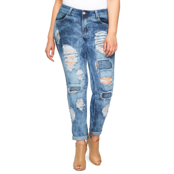 Psyched To Bike Distressed Moto Skinny Jean - Citi Trends Plus - Front