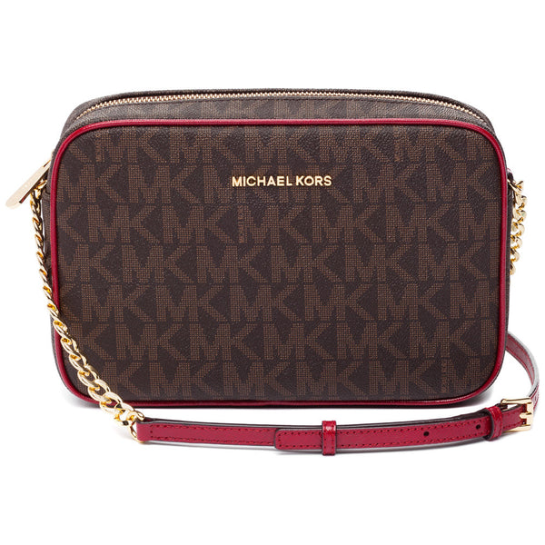 MICHAEL Michael Kors Brown And Red Jet Set Large Crossbody - Citi Trends Designer - Front