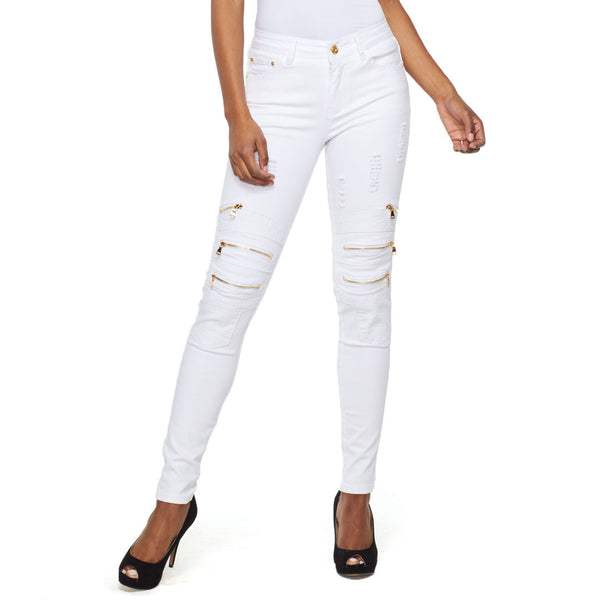 Take A Zip White Moto Jean - Citi Trends Ladies - Front