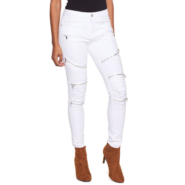 The Zip Zone White Moto Skinny Jean - Citi Trends Ladies - Front