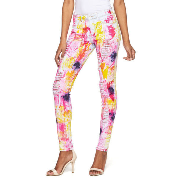 Make A Splash Distressed Paint Splatter Skinny Jean - Citi Trends Ladies - Front