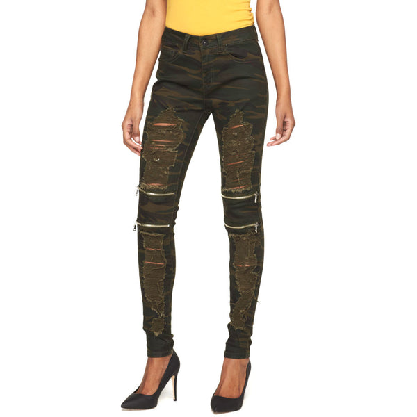 Zip To It Camouflage Destroyed Jean - Cititrends Ladies - Front