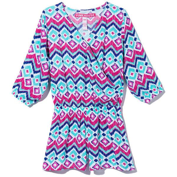 Color Me Stylish Girls Aztec Print Romper - Citi Trends Girls - Front