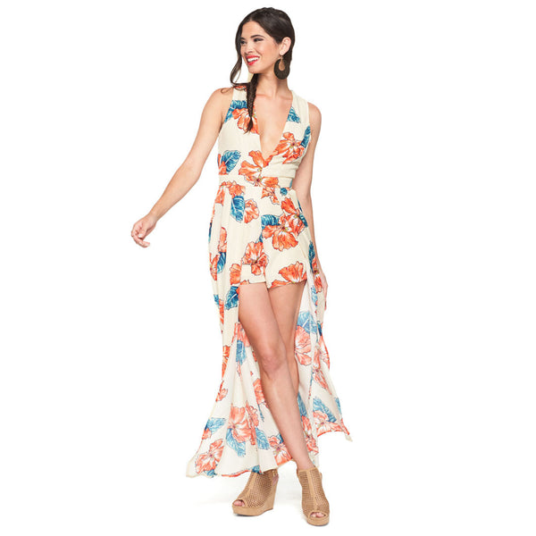 Hawaiian Dreams Maxi Romper With Plunging V-Neck - Citi Trends Ladies - Front