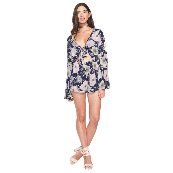 Cut-It-Out Floral Tie Front Romper With Bell Sleeves - Citi Trends Ladies - Front
