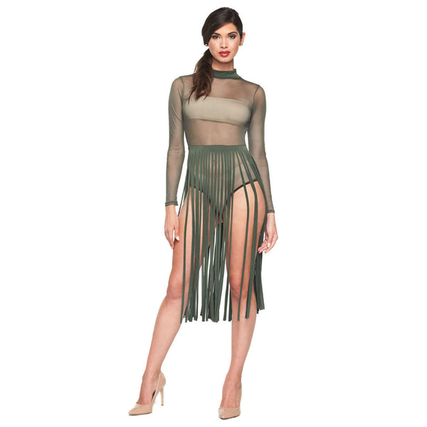Fresh In Fringe Olive Mesh Mock Neck Fringe Bodysuit - Citi Trends Ladies - Front