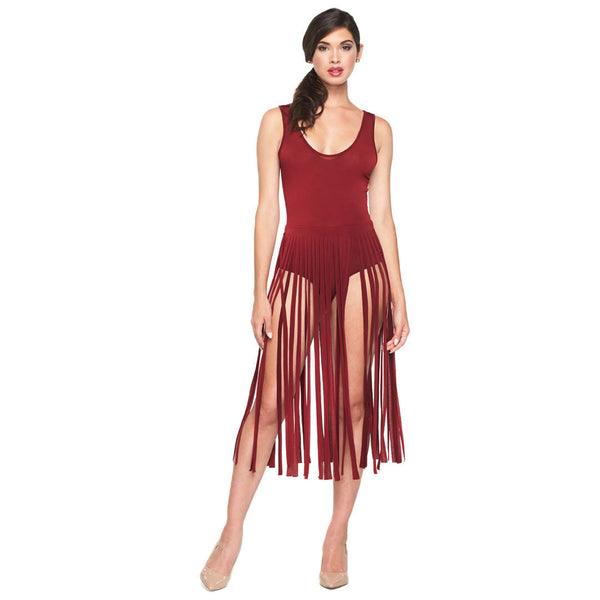 Fringe Falling Burgundy Sleeveless Fringed Bodysuit