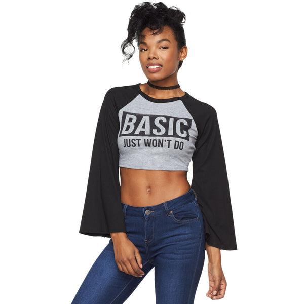 Basic Just Won't Do Grey/Black Bell Sleeve Crop Top - Citi Trends Ladies - Front