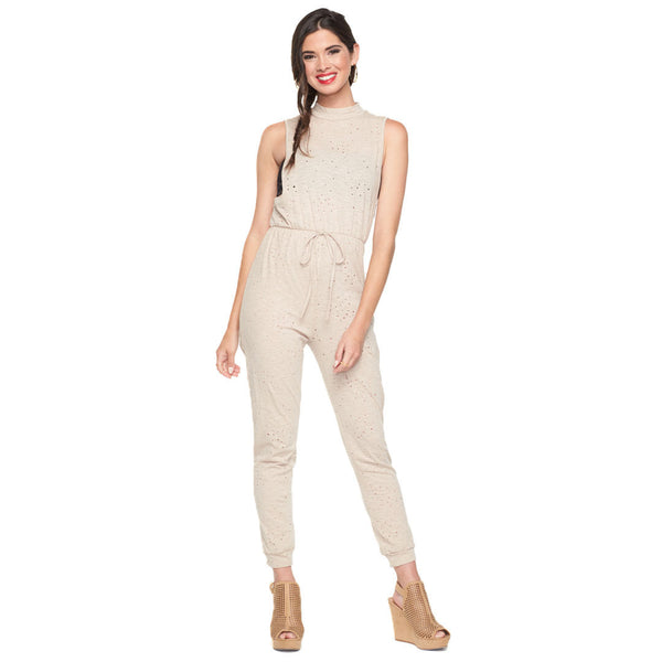 Holey Moley Nude Distressed Mock Neck Jumpsuit - Citi Trends Ladies - Front