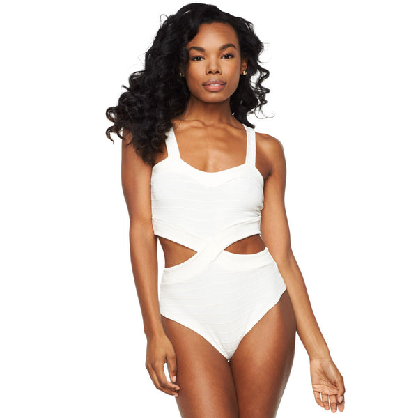 Ivory Bandage Cut Out Bodysuit - Citi Trends Ladies - Front