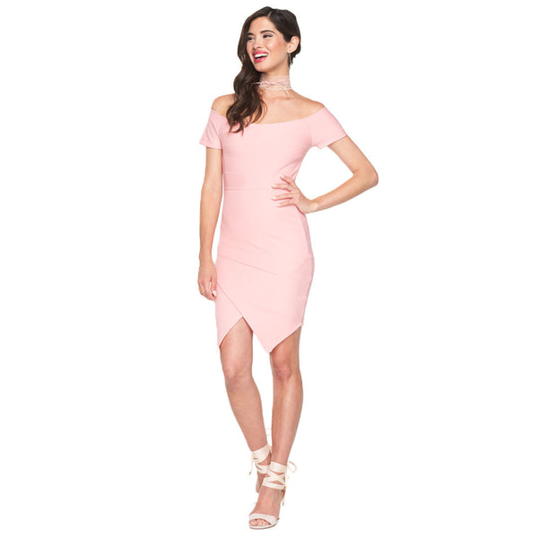Blush Bandage Off-The-Shoulder Bodycon Dress - Citi Trends Ladies - Front