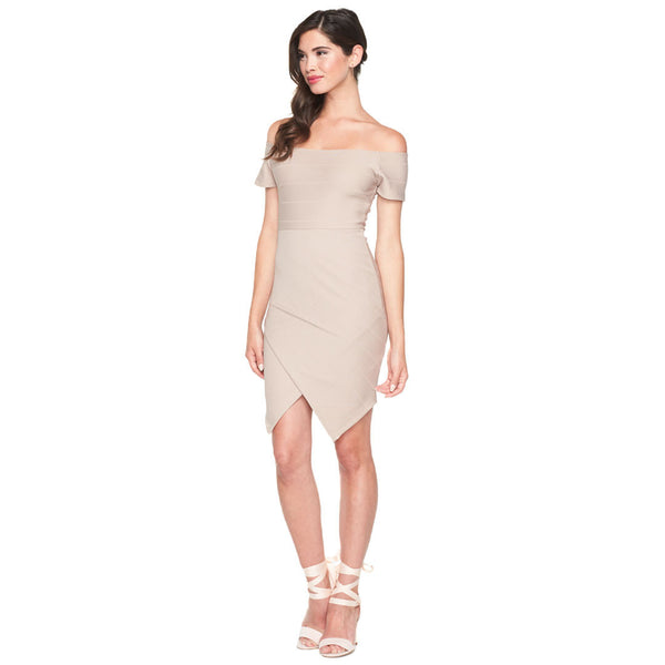 Taupe Bandage Off-The-Shoulder Bodycon Dress - Citi Trends Ladies - Front