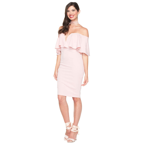 Ready To Ruffle Blush Bardot Midi Dress - Citi Trends Ladies - Front