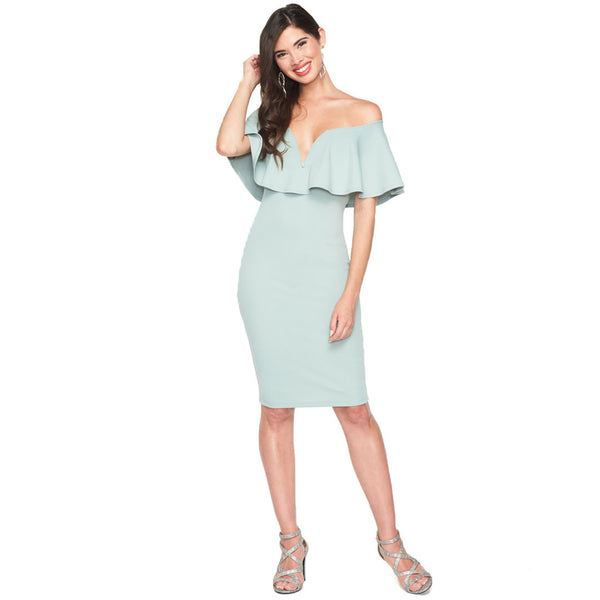 Ready To Ruffle Sage Bardot Midi Dress - Citi Trends Ladies - Front