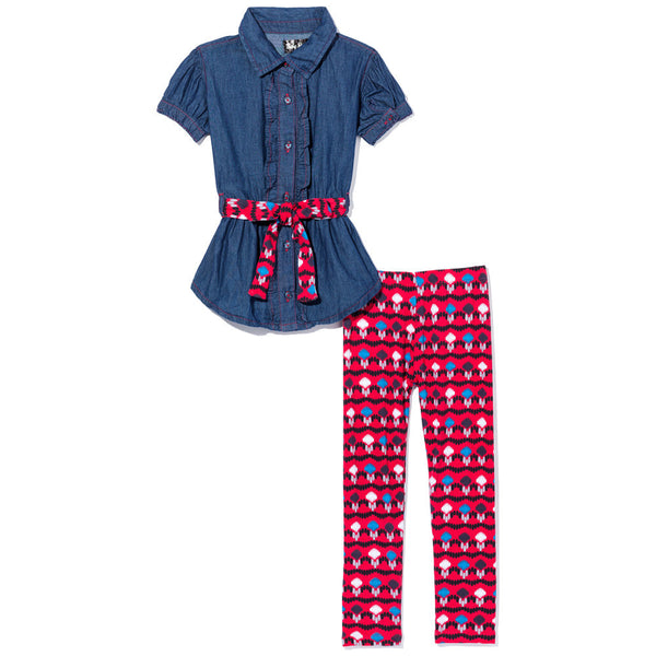 On The Button Girls 2-Piece Legging Set - Citi Trends Girls - Front