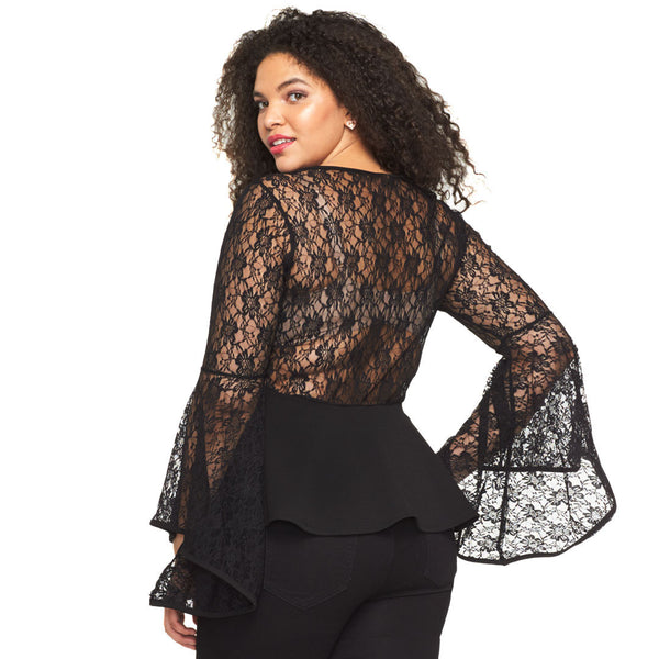 Frill Of The Lace Black Bell-Sleeve Peplum Top - Citi Trends Plus - Back