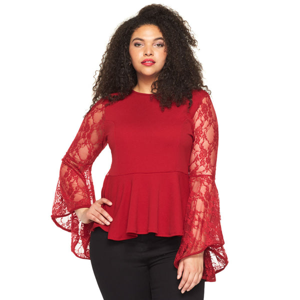 Frill Of The Lace Red Bell-Sleeve Peplum Top - Citi Trends Plus - Front