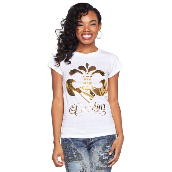 Slay Every Day White/Metallic Gold Graphic Tee - Citi Trends Ladies and Plus - Front