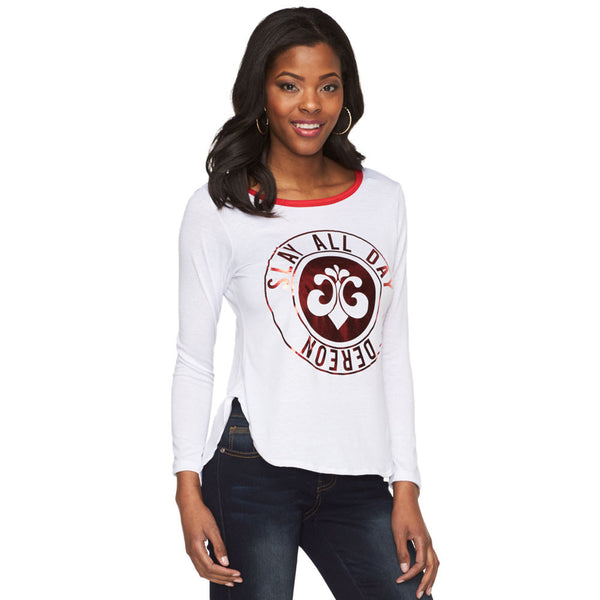 Slay All Day Deréon White/Metallic Red Graphic Raglan - Cititrends Ladies - Front
