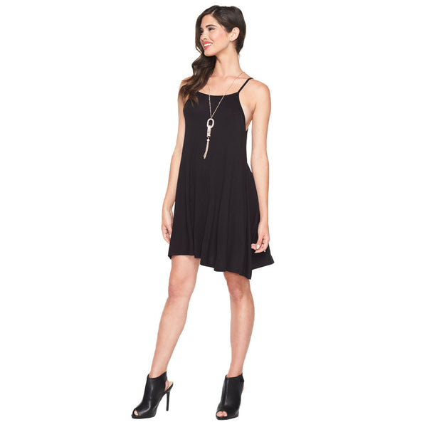 Flow With Me Black Spaghetti Strap Dress With Necklace - Citi Trends Ladies - Front