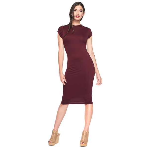 Sleek And Sexy Burgundy Lined Midi Dress - Citi Trends Ladies - Front